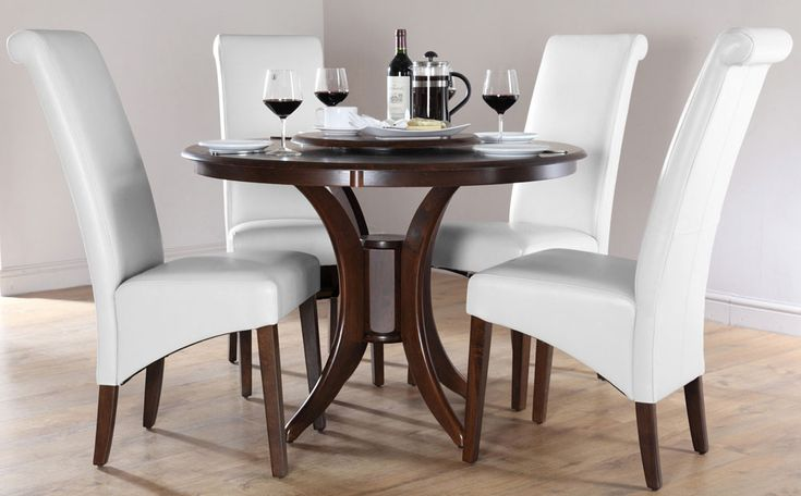 marvelous round white wooden dining table
