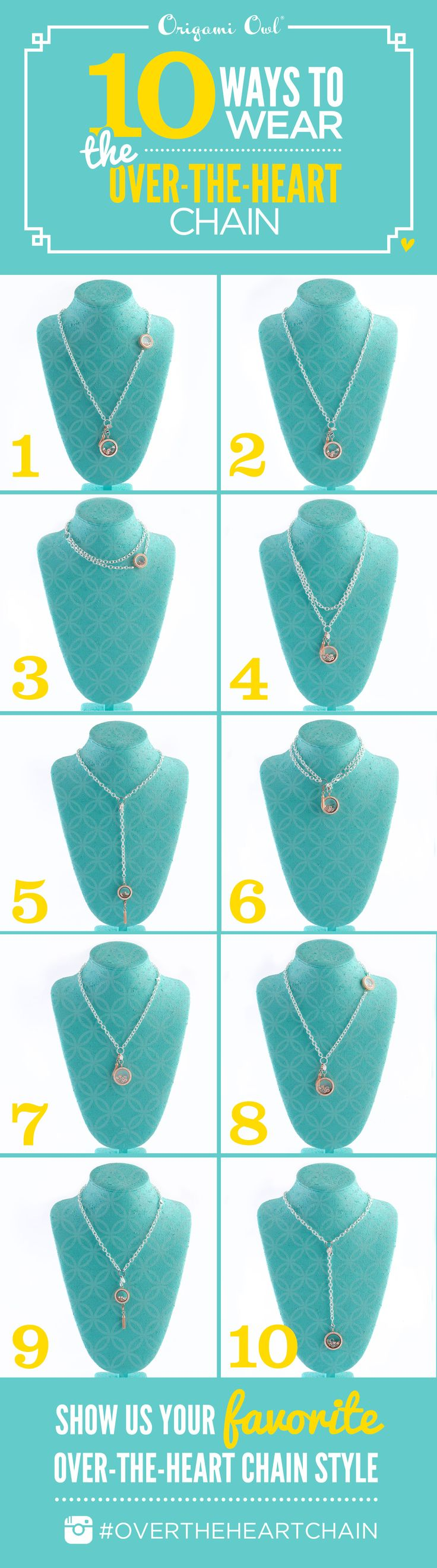 Check out the 10 amazing ways you can create these looks with the Over-the heart chain.