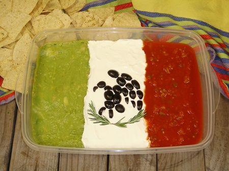 Cinco De Mayo Mexican flag dip~  guacamole, sour cream, and salsa