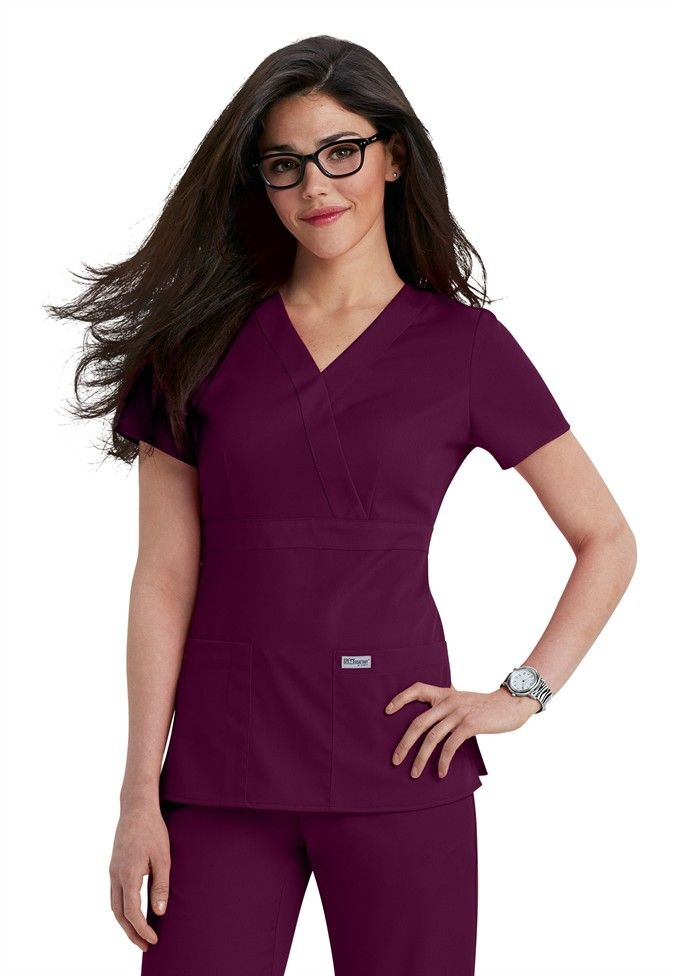 Greys Anatomy 3-pocket mock-wrap scrub top | Scrubs and Beyond #nurses #uniform
