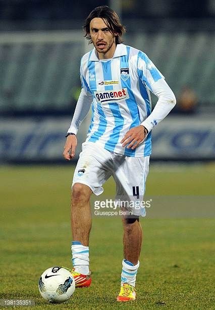 Emmanuel Cascione of Pescara in action during the Serie B match between Pescara Calcio and Modena FC on January 27 2012 in Pescara Italy