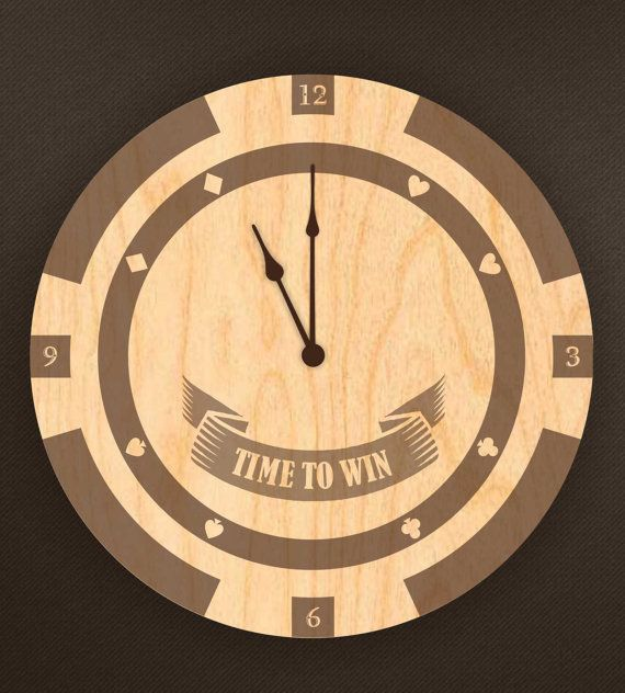 Motivational wooden wall clock vintage S-Interiors Poker Star wall clock retro made of wood with laser engraving S-interiors Poker Star 3. Size: