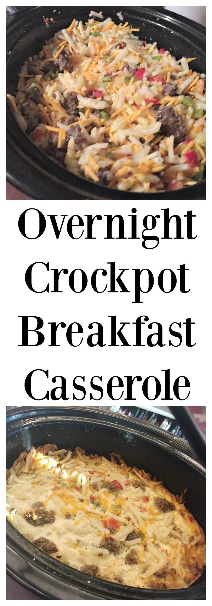 Make this easy Overnight Crockpot Breakfast Casserole