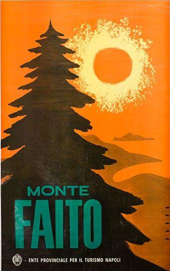 Poster by Mario Puppo, 1954, Monte Faito. (I)