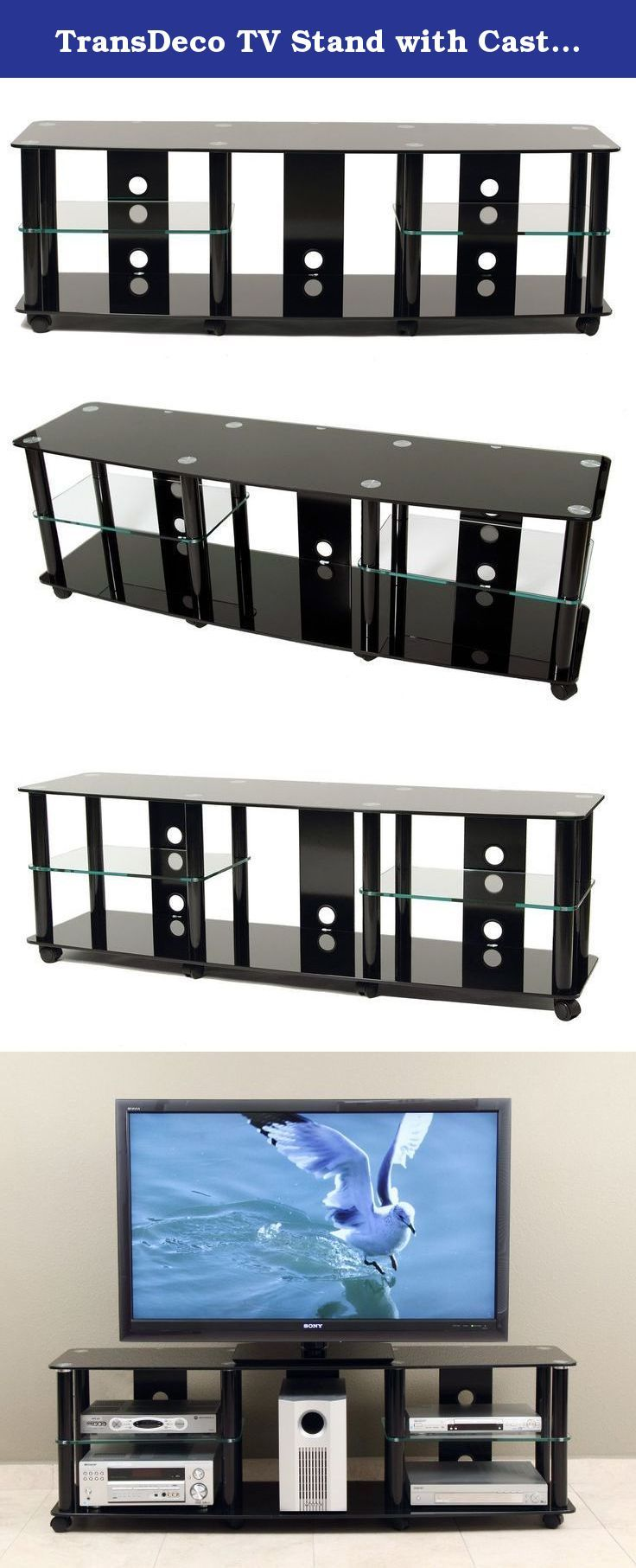 """TransDeco TV Stand with Caster for 35 to 70-Inch Plasma/LED/LCD TV. Accommodate up to 70"""" plasma, DLP, LCD and LED TV; Five AV component shelves to house all your audio video components and center channel speaker; Stylish curve front tempered safety glass with bevel edges; Cable management system to hide cables & wires; Commercial grade casters for mobility and easy AV components set up; Constructed with tempered safety glass and metal with high gloss black finish; Contemporary design..."""