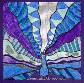 Tekenen en zo: dieren Benodigdheden: wit tekenpapier 20 bij 20 cm gekleurd papier voor achtergrond grijs potlood kleurpotloden en/of viltstiften Teken onderaan het blaadje in het midden een pauw en kleur deze in. Trek met een potlood lijnen naar de zijkanten en bovenkant van het vel. Vul de ontstane vlakken met patronen in alleen warme of alleen koude kleuren. Trek als je klaar bent de potloodlijnen en de buitenlijnen van de pauw over met een zwarte stift. Knip de onderkant weg - zie…