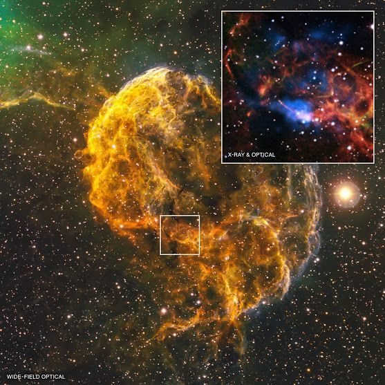 What Spawned the Jellyfish Nebula? | NASA Chandra Dec. 10, 2015: The Jellyfish Nebula, also known by its official name IC 443, is the remnant of a supernova lying 5,000 light years from Earth. New Chandra observations show that the explosion that created the Jellyfish Nebula may have also formed a peculiar object located on the southern edge of the remnant, called CXOU J061705.3+222127, or J0617 for short. The object is likely a rapidly spinning neutron star, or pulsar.