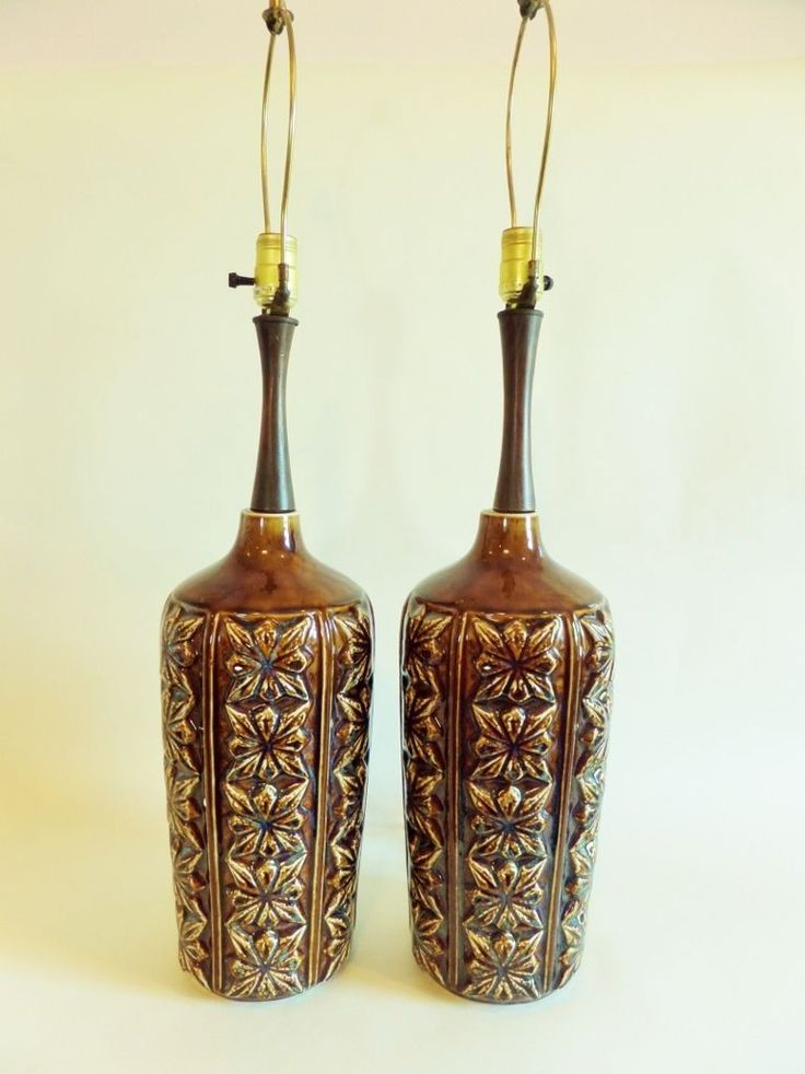 Vintage Mid Century Lamp Table Ceramic Brown Drip Glaze Large 1970s Walnut  Teak | EBay