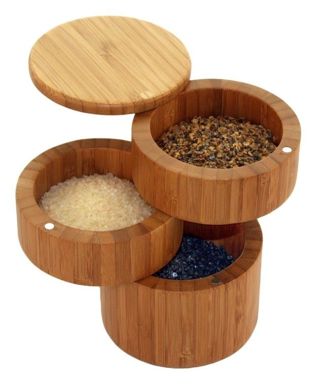 This tiered bamboo spice container ($16) locks together with magnets.