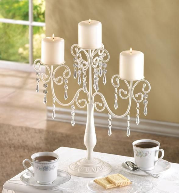 Ivory vintage inspired candelabra wedding centerpieces