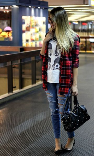 Look: Xadrez + jeans