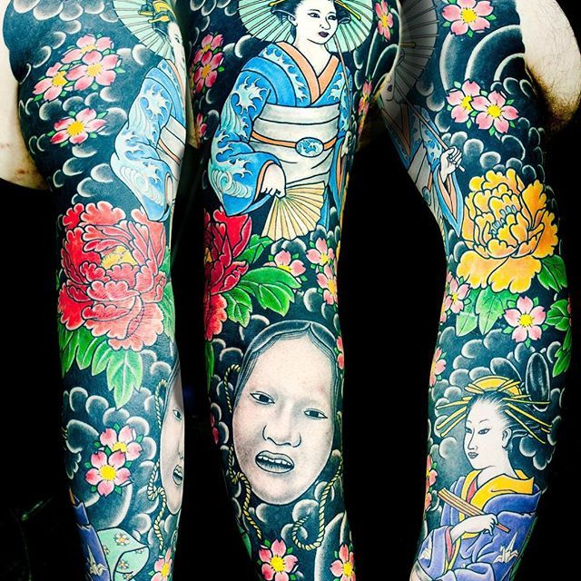 These days I'm mostly posting all the Backpieces I've done and am currently working on.. so over the next few weeks I'm going to repost some of my favorite sleeves from the past couple years. I hope you enjoy 🙏🏻 This is one of my best geisha sleeves with some flowers and a mask. Arm with no chest plate.. @authentink_studio @kianforreal_horisumi  #authentink #tattoo #sydney #australia #sydneytattoos #sydneytattooartist #japanesetattoos #japanesetattooing #horisumi #irezumi #realtattooing…