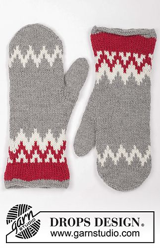 Knitted and felted mittens with Nordic pattern for Christmas in DROPS Lima.