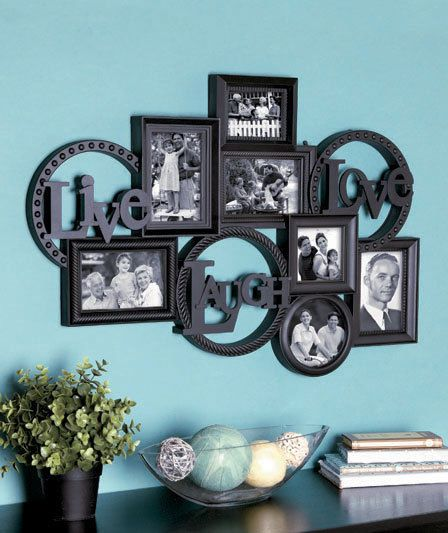 Live Laugh Love Photo Collage Picture Frame Home Decoration Expresso Black New