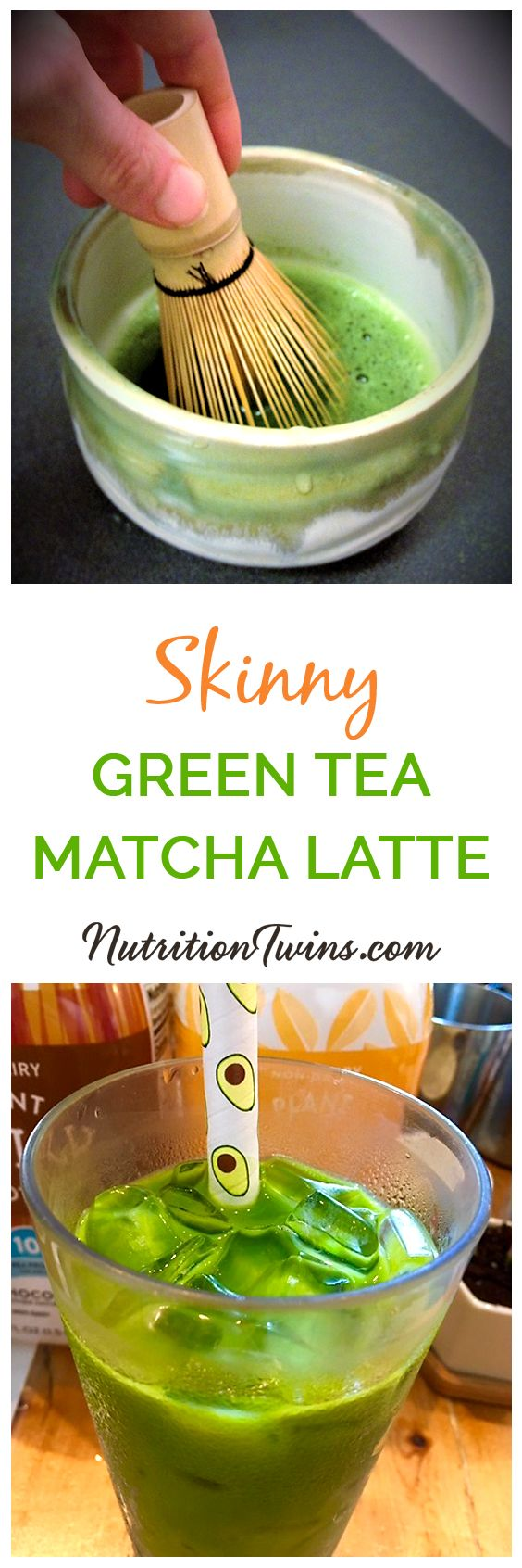 Skinny Iced Matcha Green Tea Latte | Only 20 Calories &  packed with anti-inflammatories to help your liver with it's detox processes | 30 -second version or scroll down for traditional style |For MORE RECIPES & Nutrition & Fitness Tips please SIGN UP for our FREE NEWSLETTER www.NutritionTwins.com