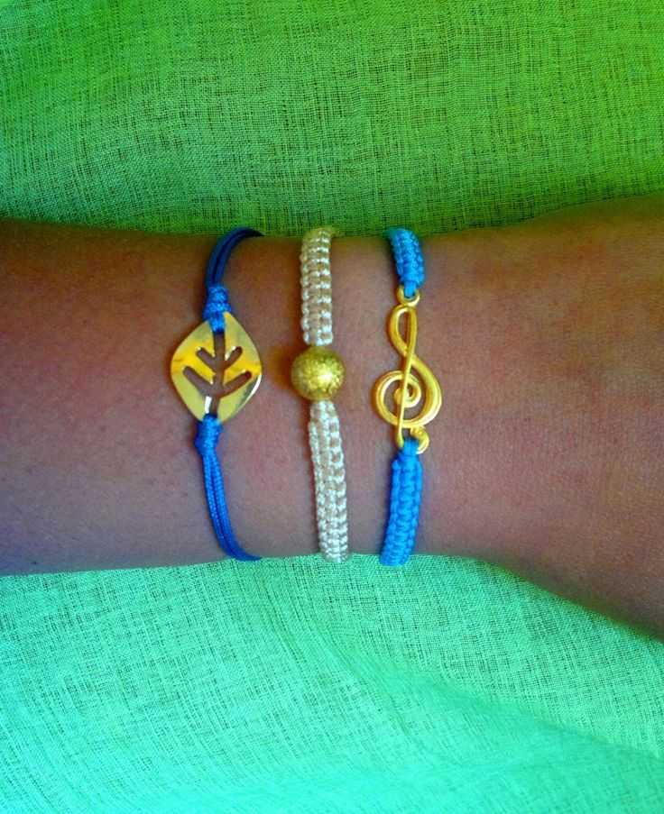 blue and beige macrame bracelets