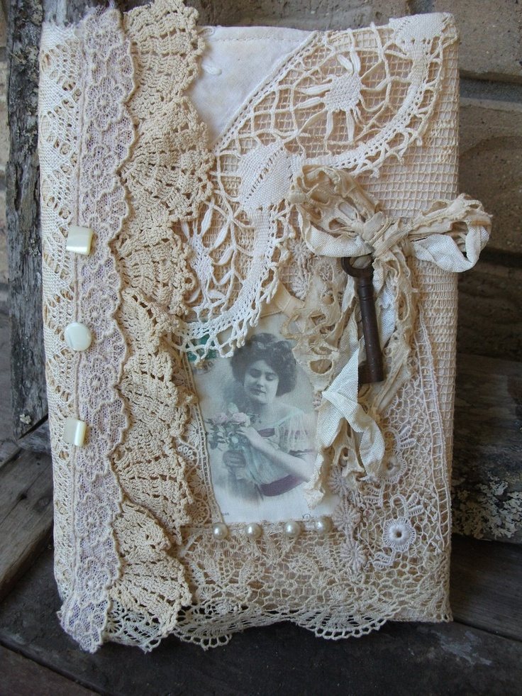 Crochet Lace Book Cover : Romantic vintage lace journal cover upcycled cream