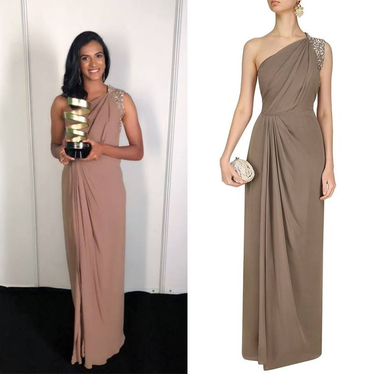 GET THE LOOK!  P V Sindhu looks absolutely gorgeous in Nandita Mahtani's Nude Pleated One Shoulder Maxi Dress.  Shop now!  #Nanditamahtani #pvsinshu #sequin #modern #details #celebstyle #celebcloset #indiandesigners #perniaspopupshop