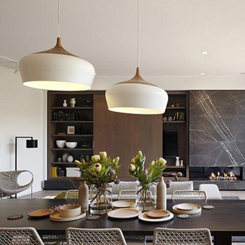 Modern pendant light Oak Wood lamp E27 socket wood lampholder Hanging light white black Optionally 300mm / 350mm