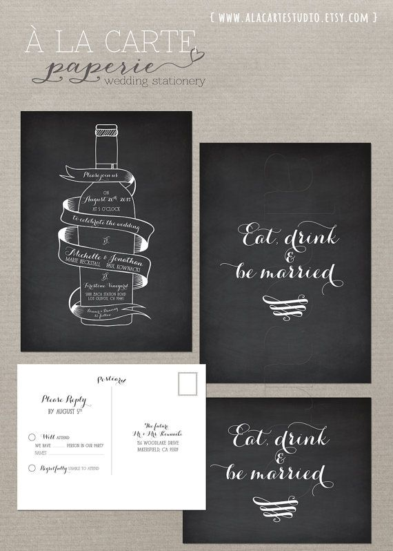 #7 Wine Bottle Chalkboard Inspired Wedding Invitation Card and RSVP Suite - Vintage Winery Wedding Stationary