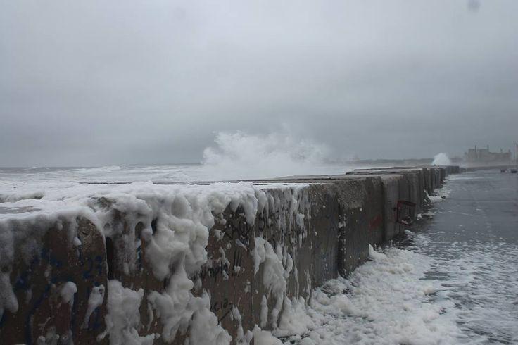 NECOCHEA, escollera, tormenta del 25 de agosto 2014