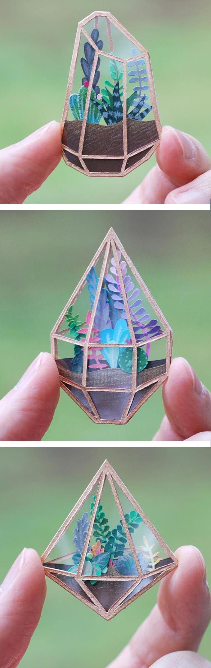 Papercut terrariums miniature plants, makes me want to try adding paper punched leaves to my resin art. Cameron Garland.