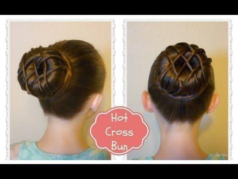 Hot Cross Bun Hairstyle - Dance Hair, Ballet Bun - YouTube