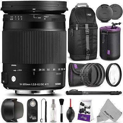 Sigma Telephoto Lens 18-300mm DC MACRO OS HSM For Nikon DSLR Photography Bundle