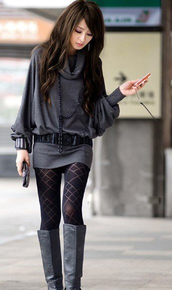 Long sweater, tights and knee high boots #fashion #style