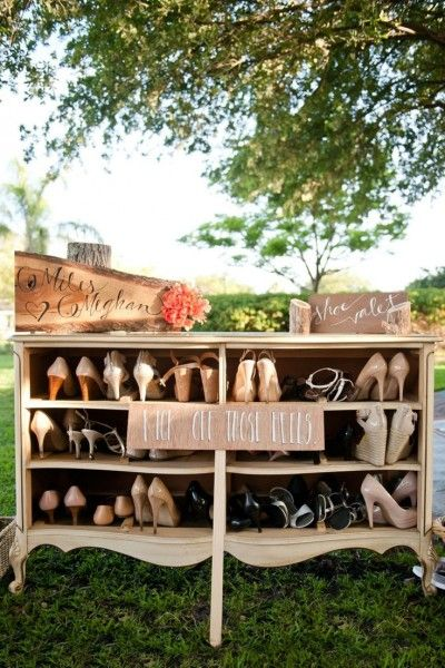 garden-wedding-decoration | have a place for guests to place their shoes for walking barefoot - on grass for a rustic nature boho bohemian outside outdoor wedding - on the sand for a summer beach destination wedding theme