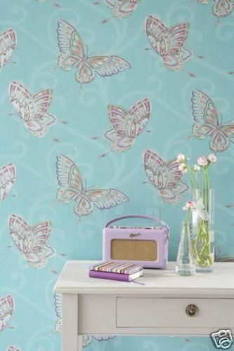 Teal Duck Egg Blue Papillon Butterfly Wallpaper Ebay