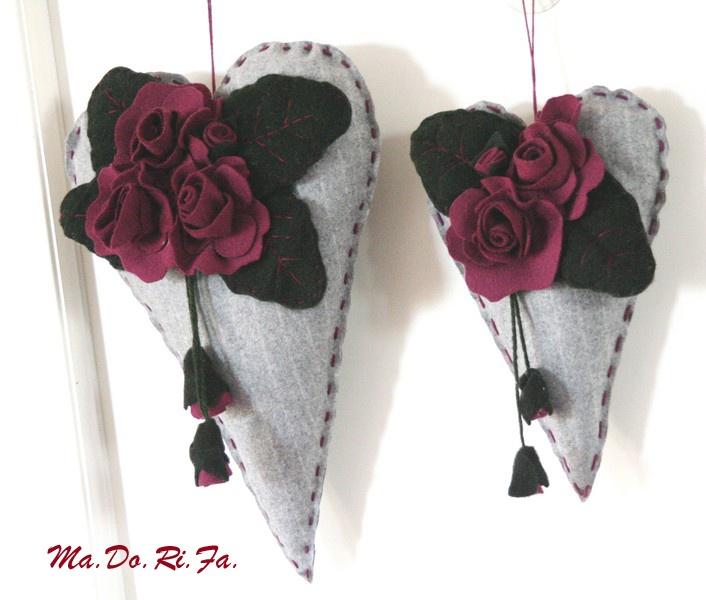cuori con rose viola
