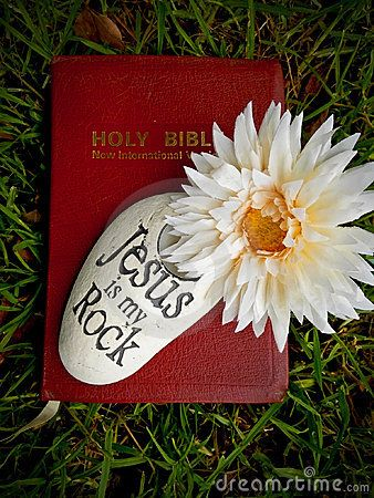 A Holy Bible with a rock and flower on top.