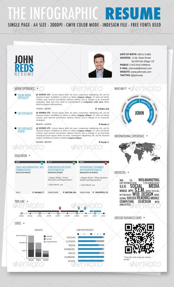 Clean Infographic Resume - GraphicRiver Item for Sale