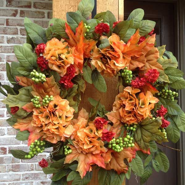 """- This Beautiful 20"""" Fall Wreath with Apricot Hydrangeas, Green Apple Berries and mixture of foliage's is a Weather Resistant Wreath that can be used Indoors or Outdoors - Sturdy Built Wreath on Grape"""