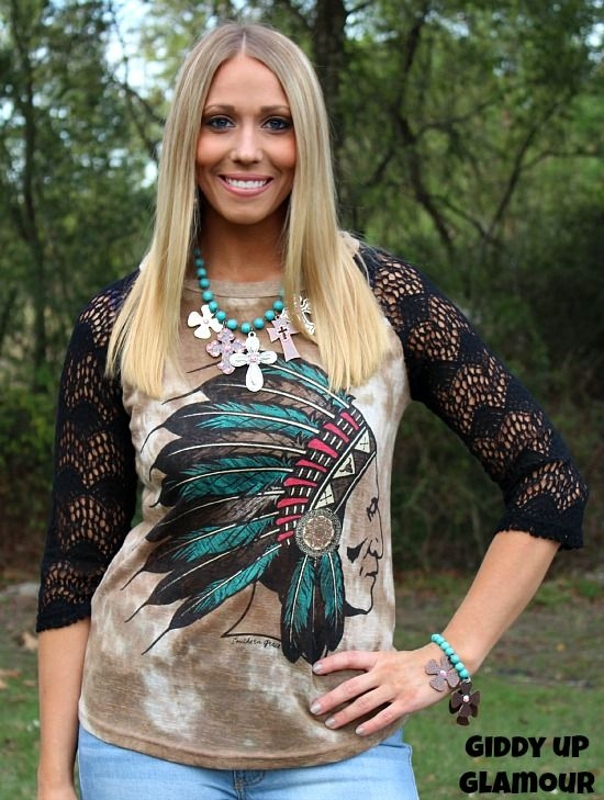 Chief of Comfort Tie Dyed Baseball Tee with Black Crochet Sleeves www.gugonline.com $32.95
