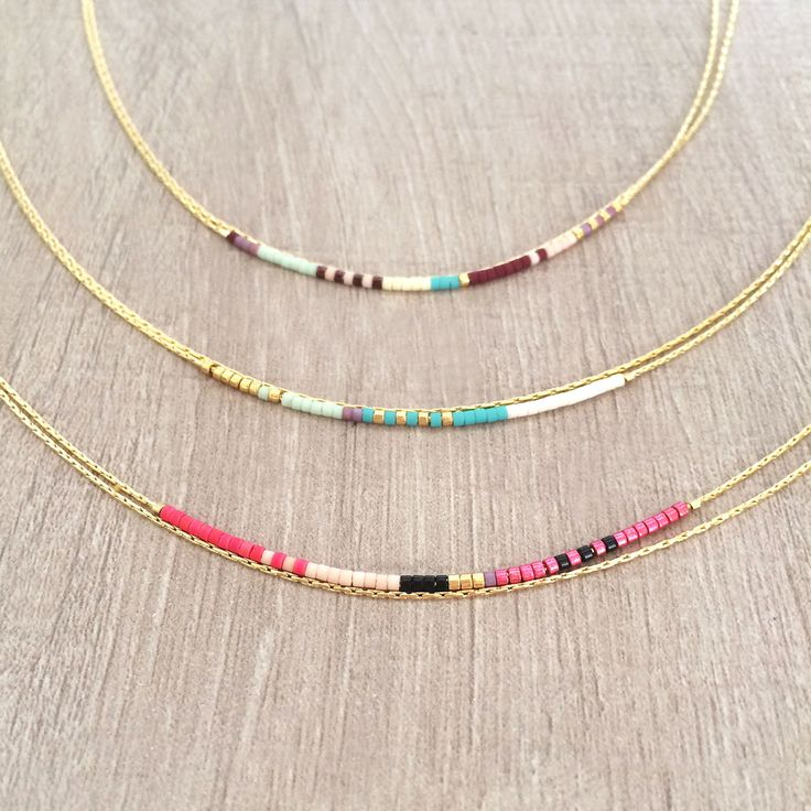 Minimalist Delicate Double Necklace with Tiny Beads // Thin Layering Boho Necklace // Colorful & Simple Necklace by Kurafuchi on Etsy
