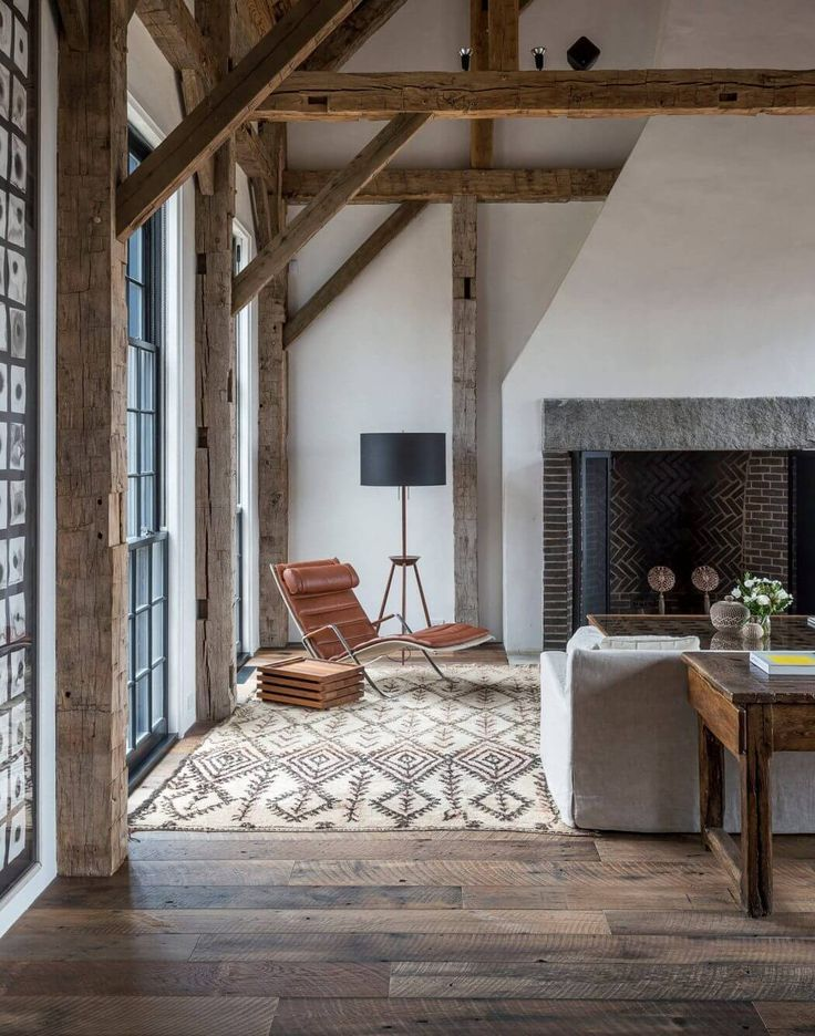 This wooden framing gives this room a great rustic feel.