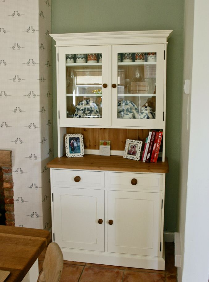 Country Inspired Dining Room. Beam Fire Place. Cream Country Pine Dresser.  Farrow U0026