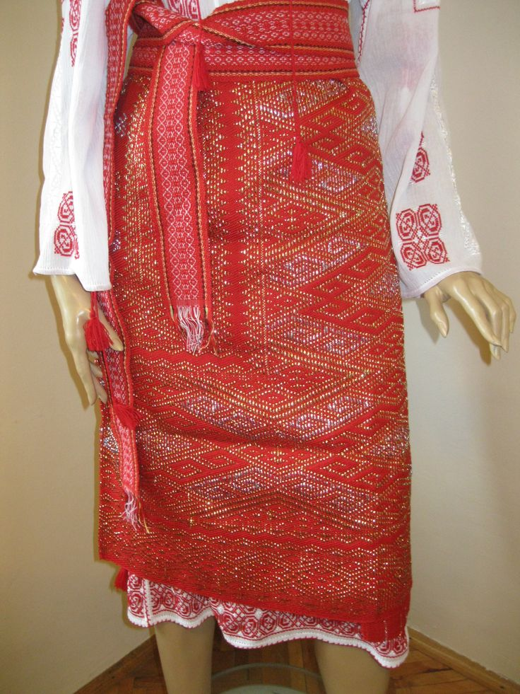 Vintage hand woven Romanian  traditional costume's wrap skirt . Available at www.greatblouses.com