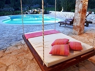 Swing bed in chillout area