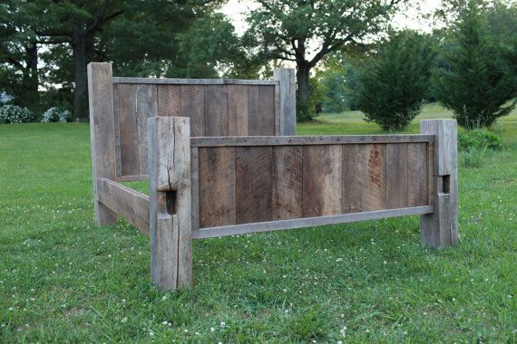 King Natural Barn Wood Bed by LazerEnterprises on Etsy, $2400.00