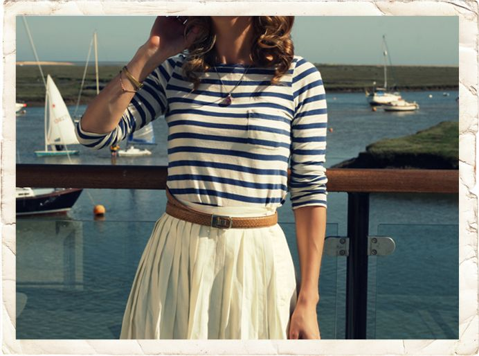 blue striped shirt: Nautical Stripes, Style, Flowy Skirts, Nautical Looks, Nautical Outfits, Stripes Shirts, Summer Outfits, Sailors, Sailing Away