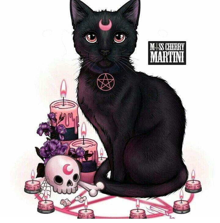 Black Cat Magic Witch Art Halloween Art Cat Art