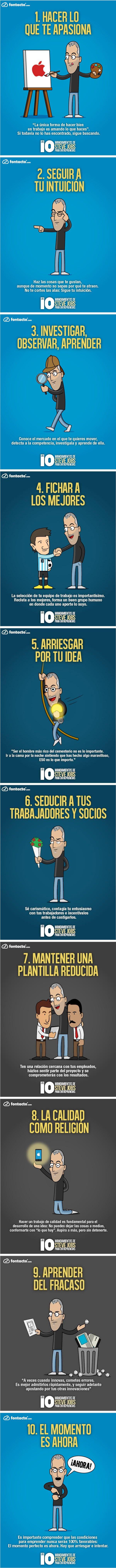Infografía en español que muestra los 10 mandamientos de Steve Jobs para emprendedores