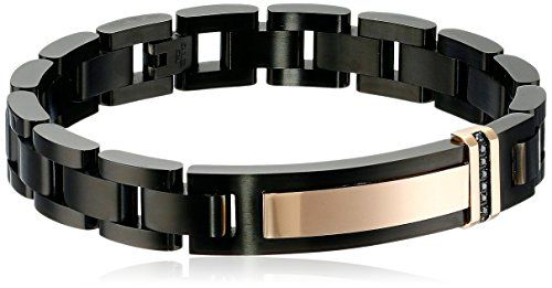 """Men's 0.10 cttw Black Diamond Stainless Steel Black and Rose Id Bracelet, 8.75"""" ** Want to know more, click on the image."""