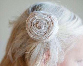 English Rose: Flower girl hair clip ... in pure silk by gillygray