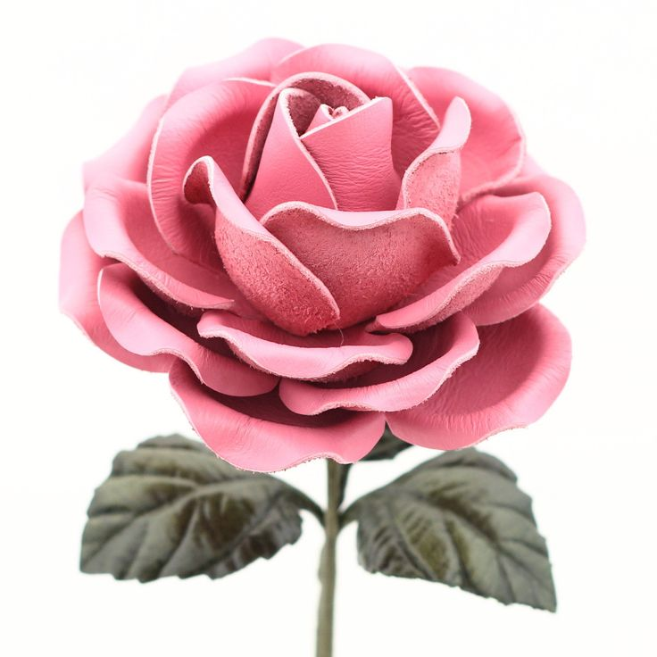 Leather Rose Long Stem Flower - Candy Pink