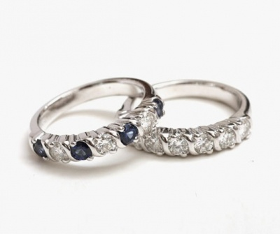 Sapphire wedding band, 14K white gold ▷ 리폼비용 about $680