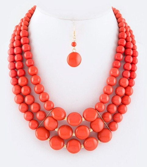 Multi strands Necklace, Coral Necklace, Statement necklace, Bubbles beads, Gift idea, Bridesmaids gift, Beadwork.